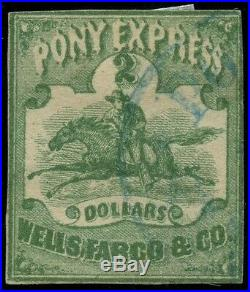 #143L4 $2 GREEN PONY EXPRESS USED With PF CERT (ONLY 7-8 KNOWN) CV $4,500 WLM3503