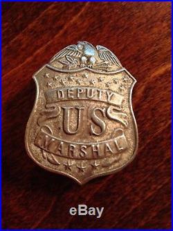 1880-1890's Deputy US Marshal Badge Silver Plated Die Stamped Brass