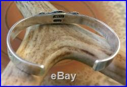 Albert Jake Navajo Turquoise Sterling Cuff Bracelet Arrows Hand Stamped signed