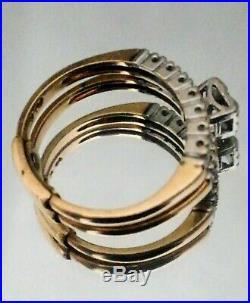 Antique Size 6 Old European Cut Genuine Diamond Ring Bridal Set 14K Stamped
