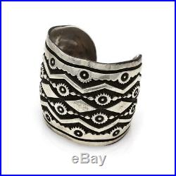 DARIN BILL Huge Navajo Handmade Heavy Stamped Solid Sterling Silver Cuff AJB