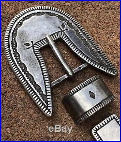 Early NAVAJO Sterling Silver Heavy Hand Stamped Ingot RANGER BELT BUCKLE Set