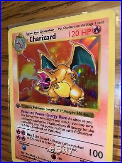 First Edition Base Set Shadowless Charizard Holo Thick Stamp Great Condition