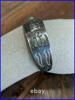 Fred Harvey Sterling Silver Cabochon Bracelet Unique Stamp Work 5.5 Adjustable