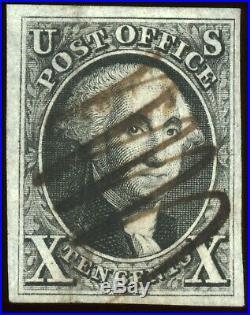 GEM BOLD COLOR CRISP IMPRESSION US SCOTT #2 10c 1847 USED BLACK 4 LARGE MARGINS
