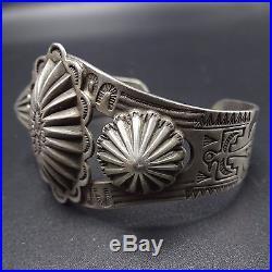 HARVEY ERA Vintage NAVAJO Hand Stamped Sterling Silver CONCHO Cuff BRACELET