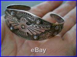 Harvey Era Bell Trading Native American Stamped Sterling Silver Thunderbird Cuff