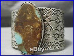 Huge Navajo Royston Turquoise Sterling Silver Stamped Bracelet Cuff