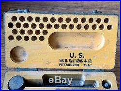 Jas Matthews Steel Stamp Set Serif WWII Military Surplus 37 Piece Mint Condition
