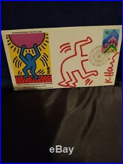 KEITH HARING INTERNATIONAL YOUTH YEAR 1984 withDRAWING & SIGNED VERY RARE