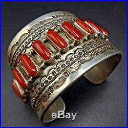 Kewa TONY AGUILAR SR Hand-Stamped Sterling Silver and CORAL Cuff BRACELET 115g