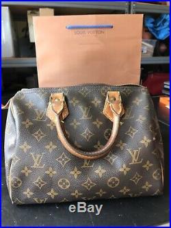 LOUIS VUITTON SPEEDY 25 HAND BAG PURSE MONOGRAM CANVAS (Stamped FH1921)