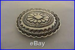 Large Thick Heavy 2.6+ozt NAVAJO CONCHO BELT BUCKLE Stamping Sterling Silver