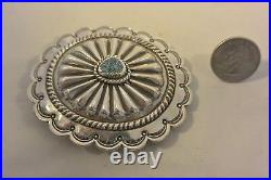 Lg NAVAJO Spiderweb Turquoise CONCHO BELT BUCKLE Stamping Sterling Silver
