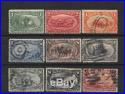 Lot of 9 1898 U. S. Used Trans-Mississippi Stamps Complete Set # 285-93 #141845 X