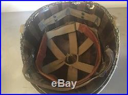 M1 Fixed Bale Front Seam Helmet 26th Infantry Liner 225 Heat Stamp