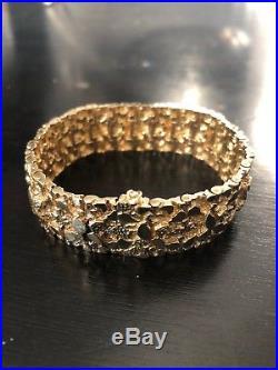 Men's 14k Stamped Gold Nugget Link Bracelet 7.5 X Approx 3/4 Wide, 70 grams