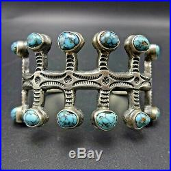 NAVAJO Cast & Hand-Stamped Sterling Silver TURQUOISE Cuff BRACELET DeDios Homage