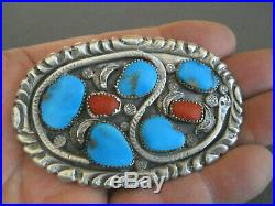 Native American Indian Turquoise Coral Sterling Silver Snake Stamped Belt Buckle