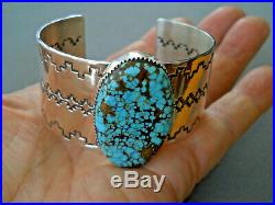 Native American Natural Number 8 Turquoise Sterling Silver Stamped Bracelet CRJ