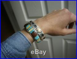 Native American Navajo Stamped Sterling Silver & 14k Cuff Bracelet