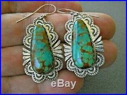 Native American Royston Turquoise Sterling Silver Stamped Hook Earrings B YAZZIE