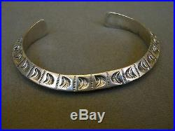 Native American Sterling Silver Stamped Cuff Bracelet 44 Grams Signed H. SPENCER