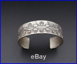 Navajo Ben Chavez Sterling Silver Hand Stamped Cuff Bracelet 7 BS2037