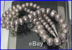 Navajo Long DESERT PEARL STERLING Silver 16 mm to 7mm Stamped FLOWER Beads 73g