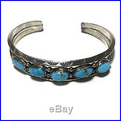 Navajo Native American Cuff Bracelet Hand Stamped Sterling Silver Turquoise VB