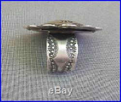 Navajo Vincent Platero Sterling Silver Stamped Concho Statement Adjustable Ring