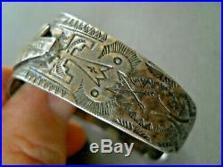 Old Harvey Era Native American Sterling Silver Thunderbird Stamped Cuff Bracelet