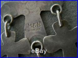 Old Native American Stamped Sterling Silver Cross Dangles Hook Earrings