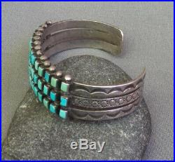 Old Vintage Native American Silver Stamped Square Turquoise 3 Row Cuff Bracelet