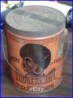 Pre-Bigger Hair Smoking Tobacco Tin w Tax Stamp Black Americana Biggerhair Can