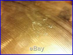 RARE VINTAGE ZILDJIAN 1940s 50s 20 TRANS STAMP RIDE CYMBAL THIN 1754 GRAMS