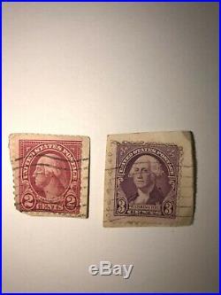 Rare George Washington red 2 cent stamp + BONUS 3 cent stamp