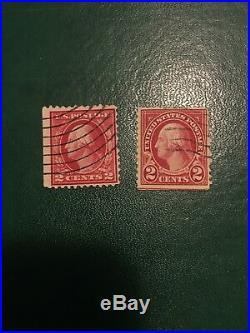 Rare Lot Of Two George Washington Red 2 Cent Vintage Stamps