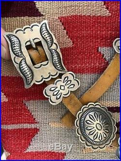 Rare Old Pawn Navajo Stamped Southwestern Silver Roger Skeet Jr. Concho Belt