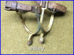 SPUS, Brass Cavalry, with original matching stamped STRAPS Both spurs RIA 1903