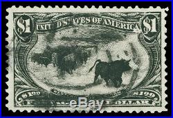 Scott 292 1898 $1.00 Black Trans-Mississippi Issue Used VF Small Faults Cat $700