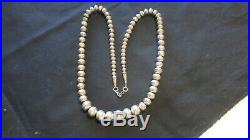 Silver Beaded Necklace Navajo Pearls hand stamped graduated 23