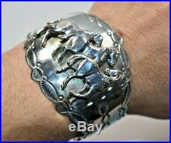 Southwestern CAROL FELLEY Sterling 3-D Horses Stamped Cuff Bracelet 91' 6.5