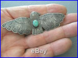 Southwestern Native American Turquoise Sterling Silver Stamped Thunderbird Pin