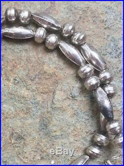 Sterling Silver Navajo Stamped Pearl and Melon Beads Necklace
