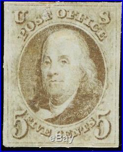 Used US Scott #1 Dark Brown 1847 5c Stamp 4 Large Margins Light Cancel