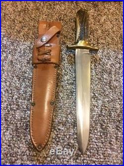 Vintage 60's RUANA 42B M Bowie Knife Butt Stamped/Stag/org