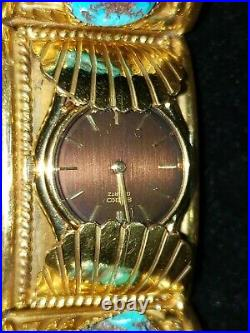 Vintage J TOADLENA HEAVY WATCH BAND BRACELET 12k Gold Filled Turquoise Navajo