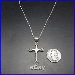 Vintage NAVAJO Cast & Hand-Stamped Sterling Silver CROSS PENDANT + 16 Box Chain