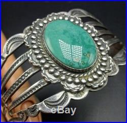 Vintage NAVAJO Hand-Stamped HARVEY ERA Sterling Silver TURQUOISE Cuff BRACELET